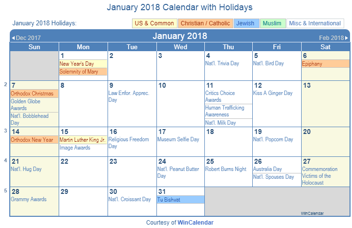 January 2018 Printable Calendar with US Holidays including: Christian, Jewish and Muslim Holidays