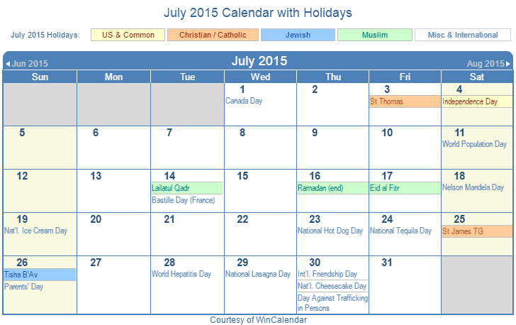July 2015 Printable Calendar with US Holidays including: Christian, Jewish and Muslim Holidays