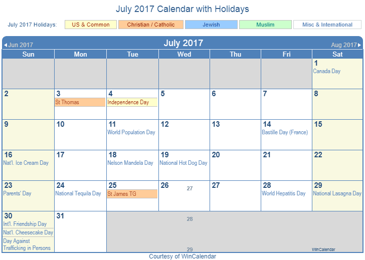 Print Friendly July 2017 US Calendar for printing