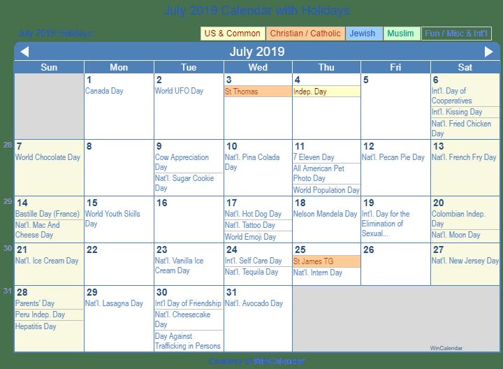 Print Friendly July 2019 Us Calendar For Printing