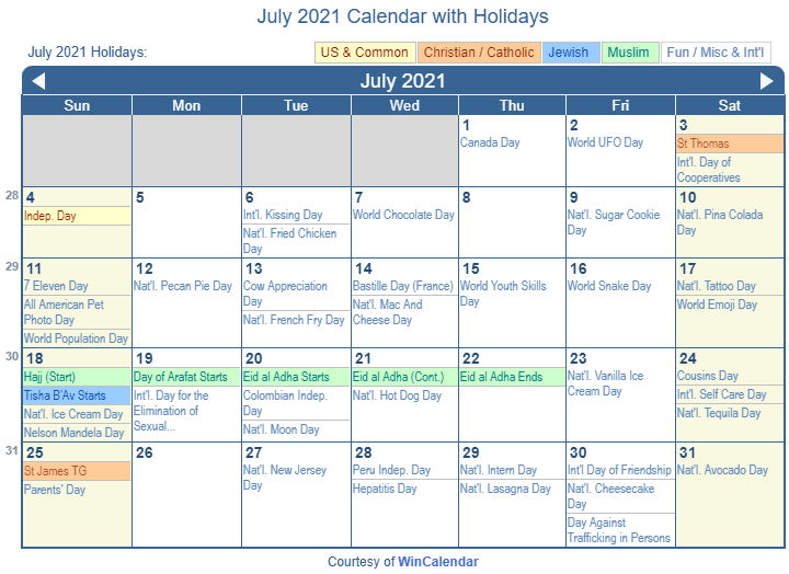 July 2021 Printable Calendar with US Holidays including: Christian, Jewish and Muslim Holidays