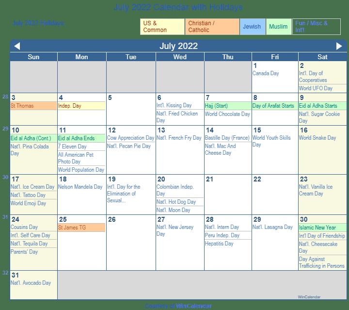 Printable Calendar 2022 July.Print Friendly July 2022 Us Calendar For Printing