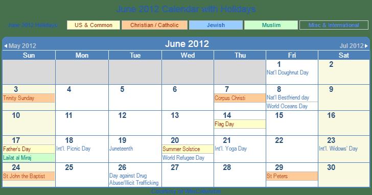 June Wincalendar : Print friendly june us calendar for printing