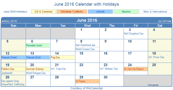 June 2016 Printable Calendar with US Holidays including: Christian, Jewish and Muslim Holidays