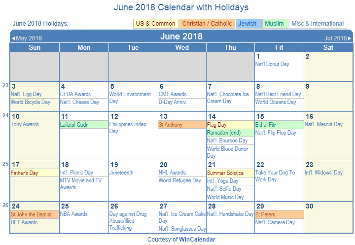 June 2018 Printable Calendar with US Holidays: Christian, Jewish and Muslim Holidays