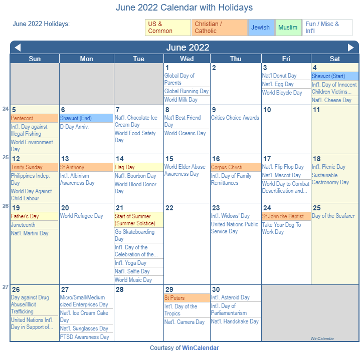 Printable June Calendar 2022.Print Friendly June 2022 Us Calendar For Printing