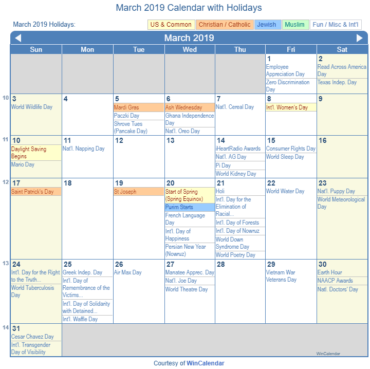 March 2019 Printable Calendar with US Holidays: Christian, Jewish and Muslim Holidays