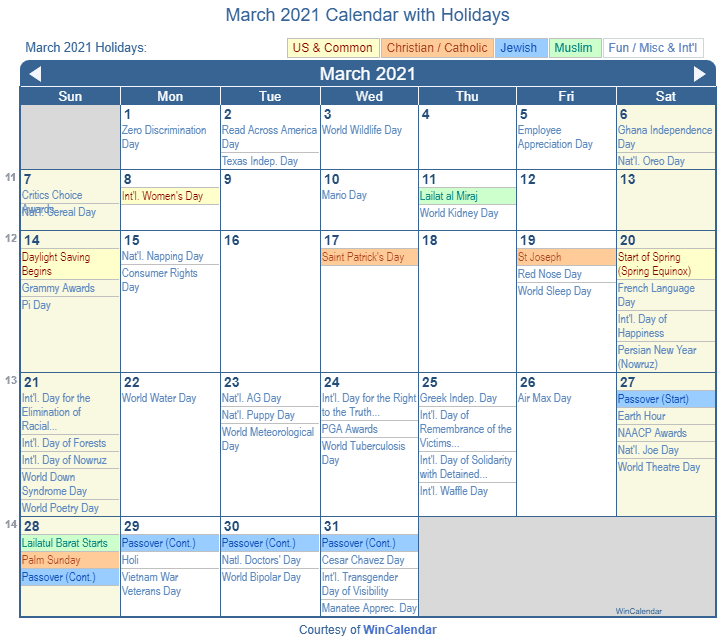 March 2021 Printable Calendar with US Holidays including: Christian, Jewish and Muslim Holidays