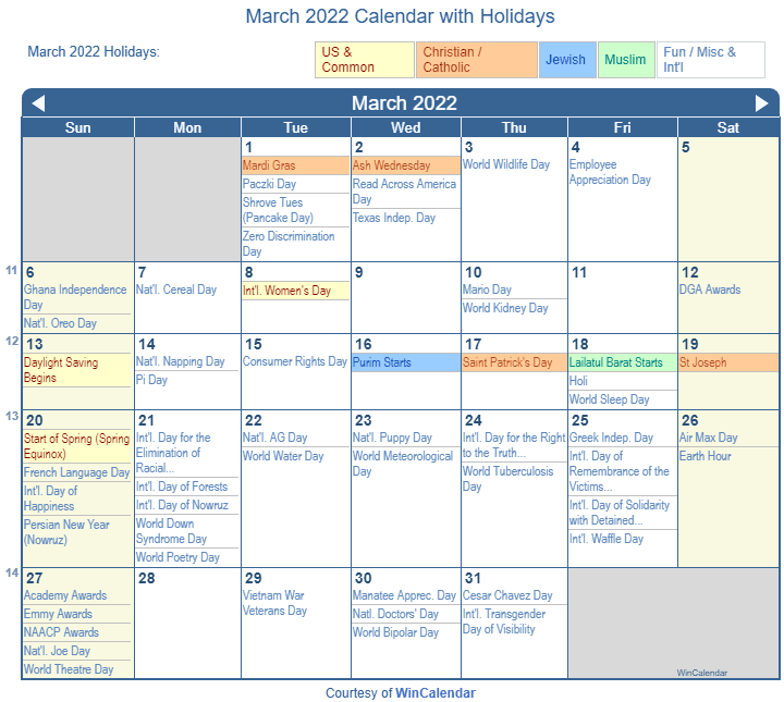 March 2022 Printable Calendar with US Holidays: Christian, Jewish and Muslim Holidays