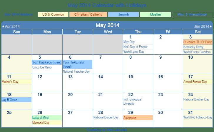 may 2014 printable calendar with us holidays including christian jewish and muslim holidays