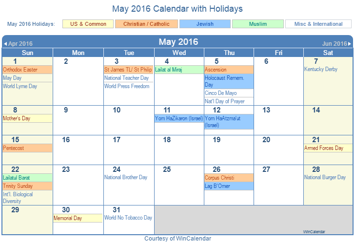 Print Friendly May 2016 US Calendar for printing