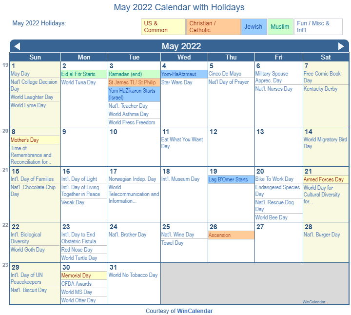 2022 Christian Calendar.Print Friendly May 2022 Us Calendar For Printing