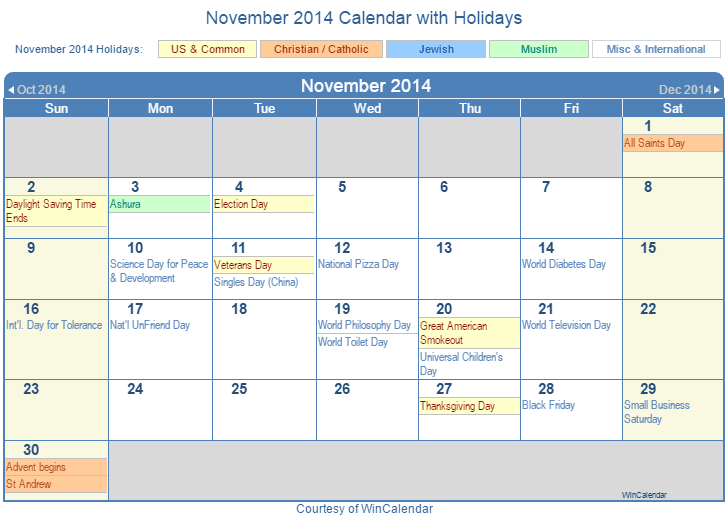 november 2014 printable calendar with us holidays including christian jewish and muslim holidays