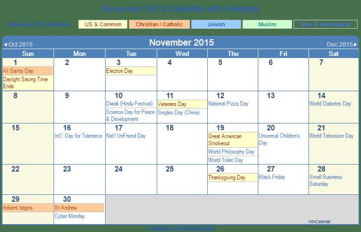 calendar november 2015 printable