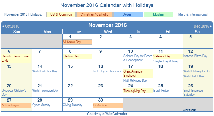 November 2016 Printable Calendar with US Holidays including: Christian, Jewish and Muslim Holidays