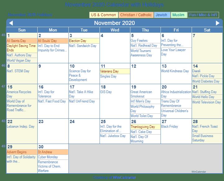 November 2020 Calendar With Holidays Usa Print Friendly November 2020 US Calendar for printing
