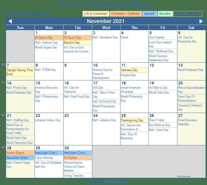Print Friendly November 2021 US Calendar for printing