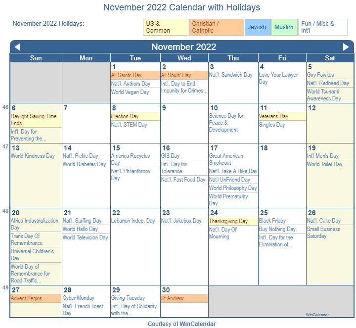 Printable November 2022 Calendar.Print Friendly November 2022 Us Calendar For Printing
