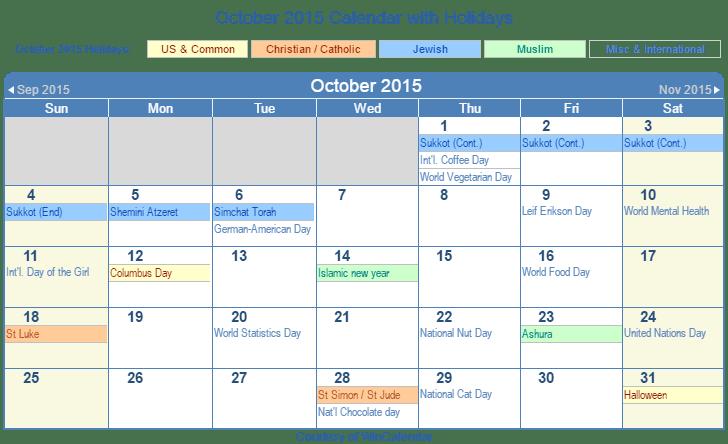 Print Friendly October 2015 US Calendar for printing  Print Friendly ...