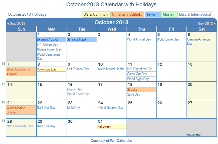 October 2018 Printable Calendar with US Holidays including: Christian, Jewish and Muslim Holidays
