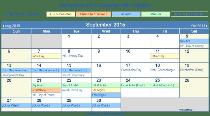 Print Friendly September 2015 US Calendar for printing