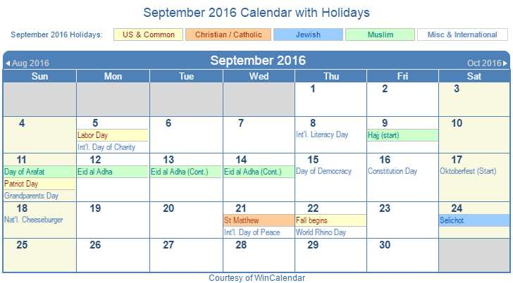 September 2016 Printable Calendar with US Holidays including: Christian, Jewish and Muslim Holidays