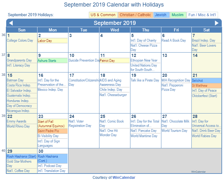 Print Friendly September 2019 Us Calendar For Printing