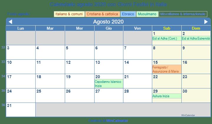 Calendario Di Agosto 2020.Calendario Da Stampare Agosto 2020