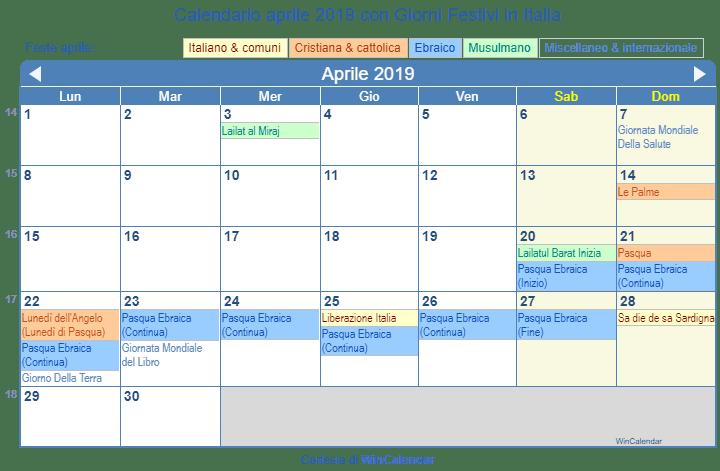 Calendario Con Festivita 2019.Calendario Da Stampare Aprile 2019