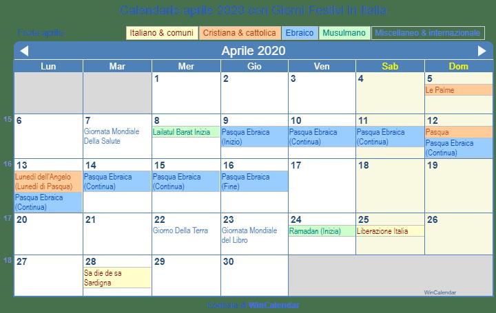 Calendario Imbottigliamento 2020.Calendario Da Stampare Aprile 2020