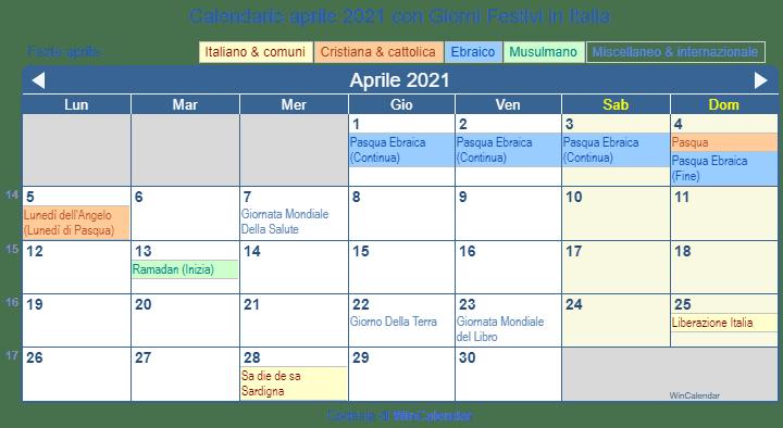 Calendario Aprile 2021 Italia Calendario aprile 2021 per la stampa   Italia