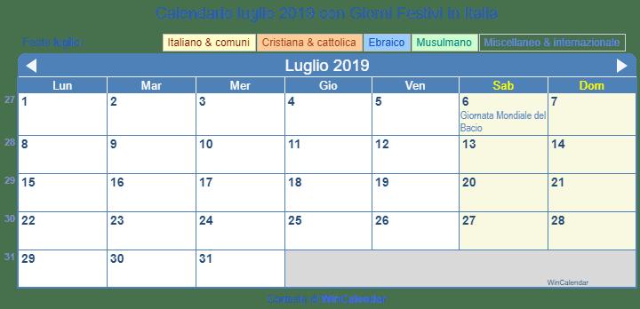 Calendario 31 Luglio 2019.Calendario Da Stampare Luglio 2019