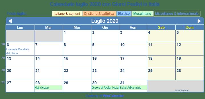 Calendario Luglio 2020 Da Stampare.Calendario Da Stampare Luglio 2020
