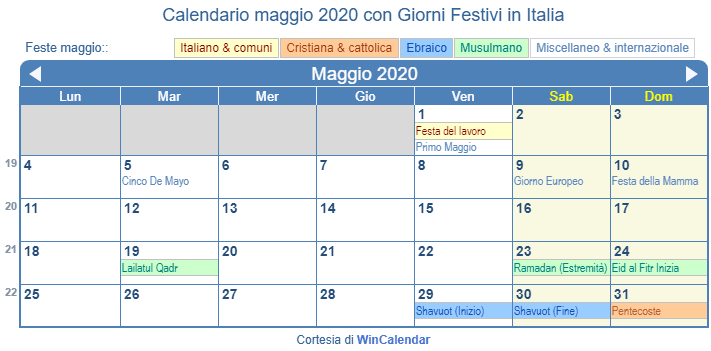Calendario Maggio 2020.Calendario Da Stampare Maggio 2020