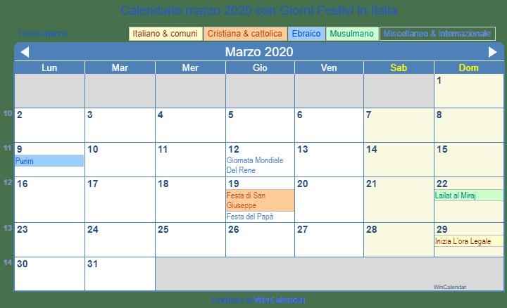 Calendario Marzo 2020.Calendario Da Stampare Marzo 2020