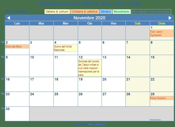 Calendario Italiano 2020 Con Festivita.Calendario Da Stampare Novembre 2020