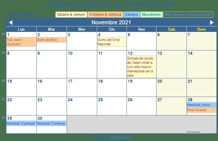 Calendario novembre 2021 per la stampa   Italia