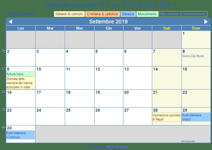 Calendario Da Stampare.Calendario Da Stampare Settembre 2019