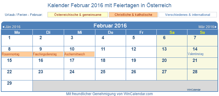 sterreich kalender zum drucken februar 2016. Black Bedroom Furniture Sets. Home Design Ideas