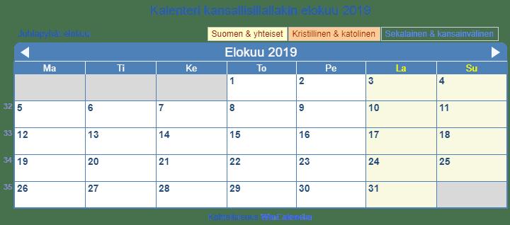 Kalenteri tulostukseen - elokuu 2019