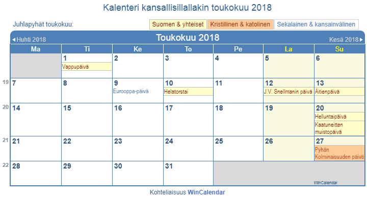 Toukokuu Kalenteri