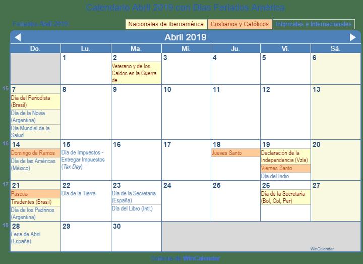 Calendario Abril 2019 Para Imprimir America