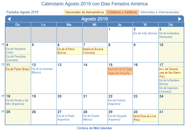 Calendario De Agosto 2019 Para Imprimir.Calendario Agosto 2019 Para Imprimir America