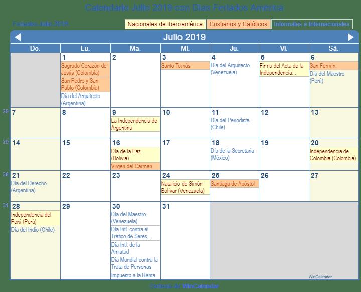 Calendario Julio 2019 Para Imprimir.Calendario Julio 2019 Para Imprimir America