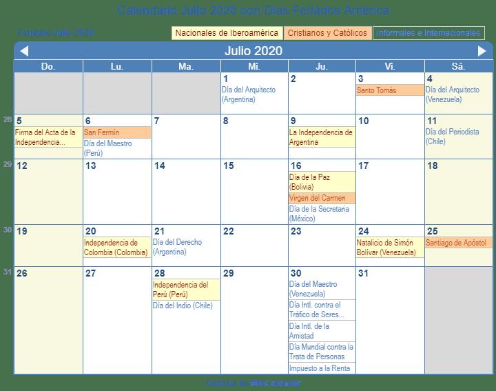 Calendario Impuestos 2020.Calendario Julio 2020 Para Imprimir America