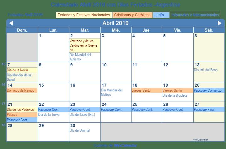 Calendario 2019 Para Imprimir Argentina.Calendario Abril 2019 Para Imprimir Argentina