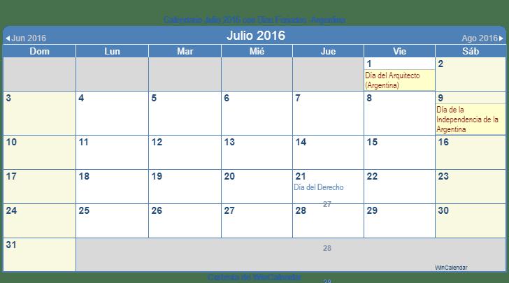 Calendario 2016 Argentina.Calendario Julio 2016 Para Imprimir Argentina