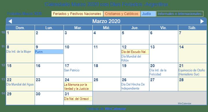 Calendario Marzo 2020 Argentina Para Imprimir.Calendario Marzo 2020 Para Imprimir Argentina