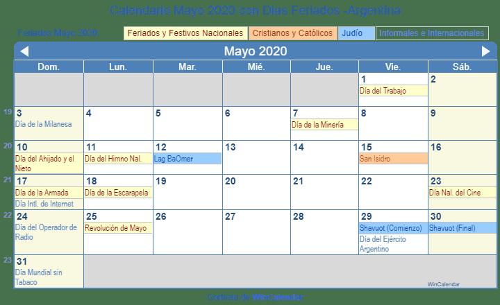 Calendario Escolar 2020 Argentina Para Imprimir.Calendario Mayo 2020