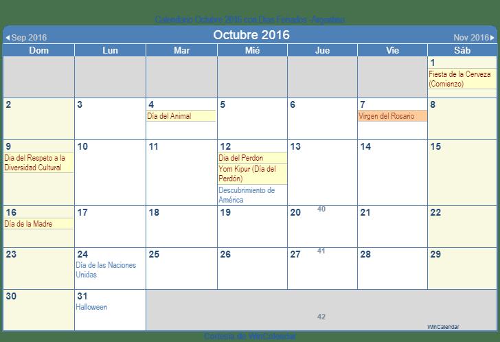 Calendario 2016 Argentina.Calendario Octubre 2016 Para Imprimir Argentina
